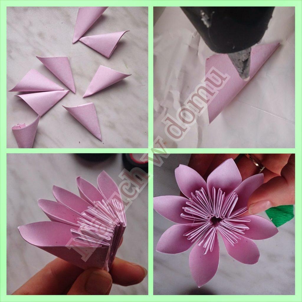 Origami Przestrzenne Kwiaty Z Kwadratowych Karteczek Maluch W Domu