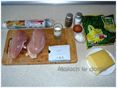 Pierś z kurczaka faszerowana szpinakiem w cieście francuskim