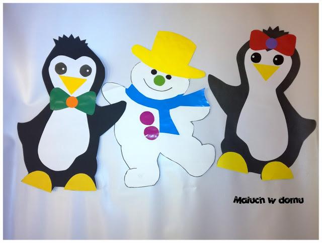 Wesołe bałwanki i pingwiny - szablony, dekoracja