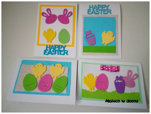 Kartki wielkanocne handmade z piankowymi naklejkami