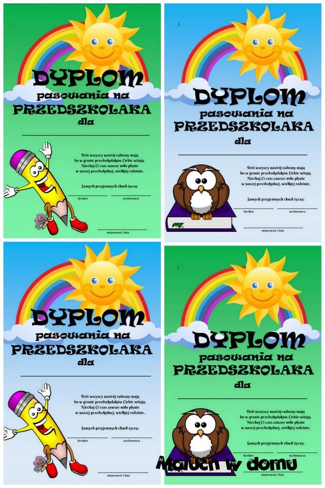 Darmowe dyplomy pasowania na przedszkolaka