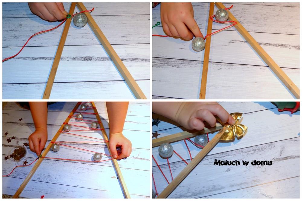 Drewniana choinka ozdobiona sznurkiem i bombkami