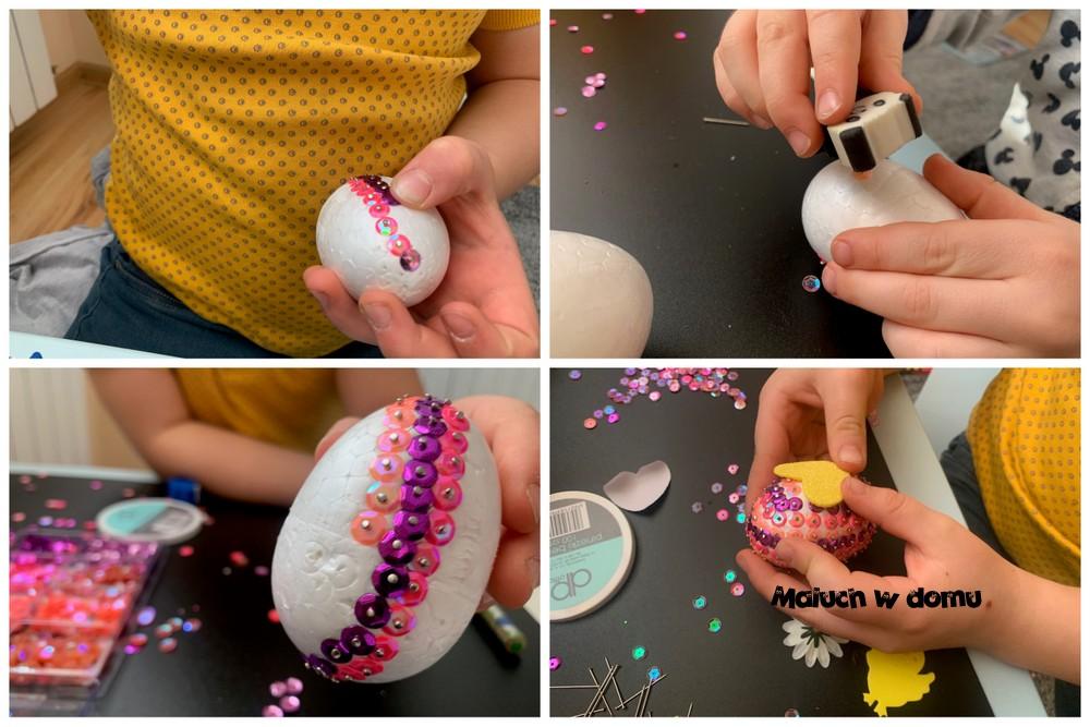 Styropianowe jajka zdobione cekinami