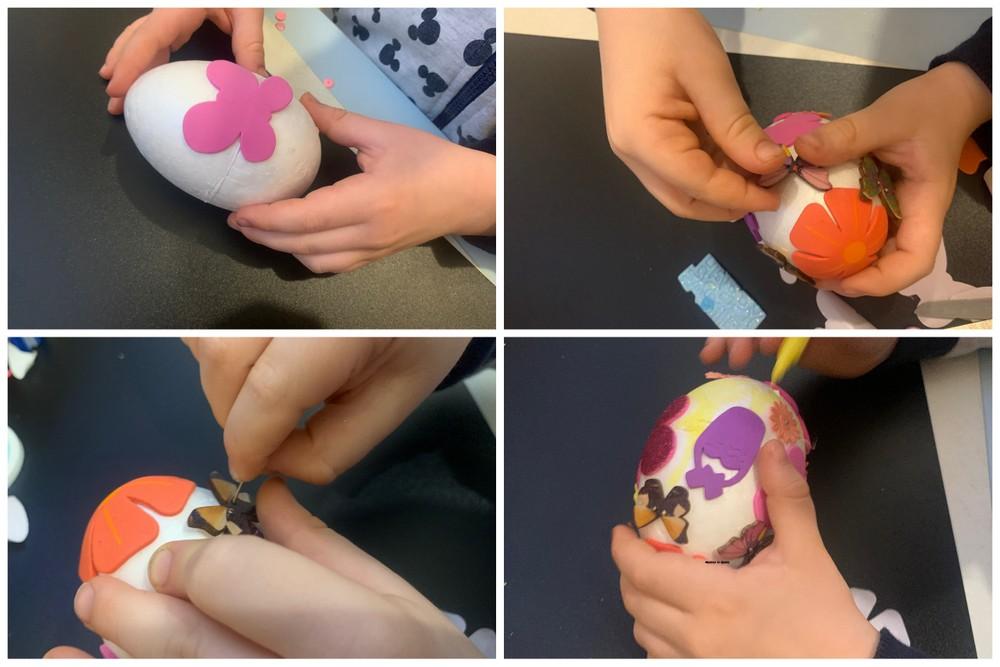 Dekorowanie styropianowych jajek naklejkami piankowymi