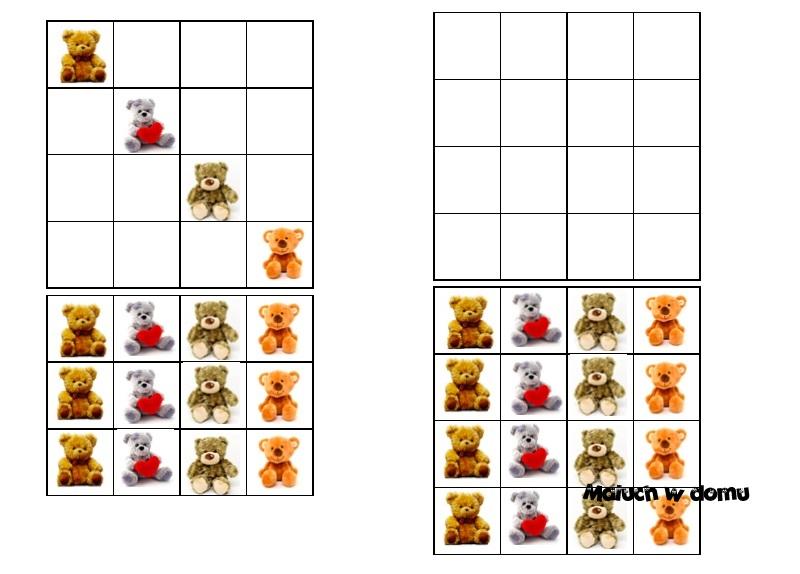 Sudoku 4x4 na Dzień Pluszowego Misia