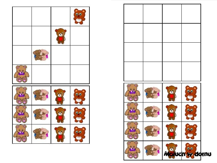 Sudoku 4x4 na Dzień Misia