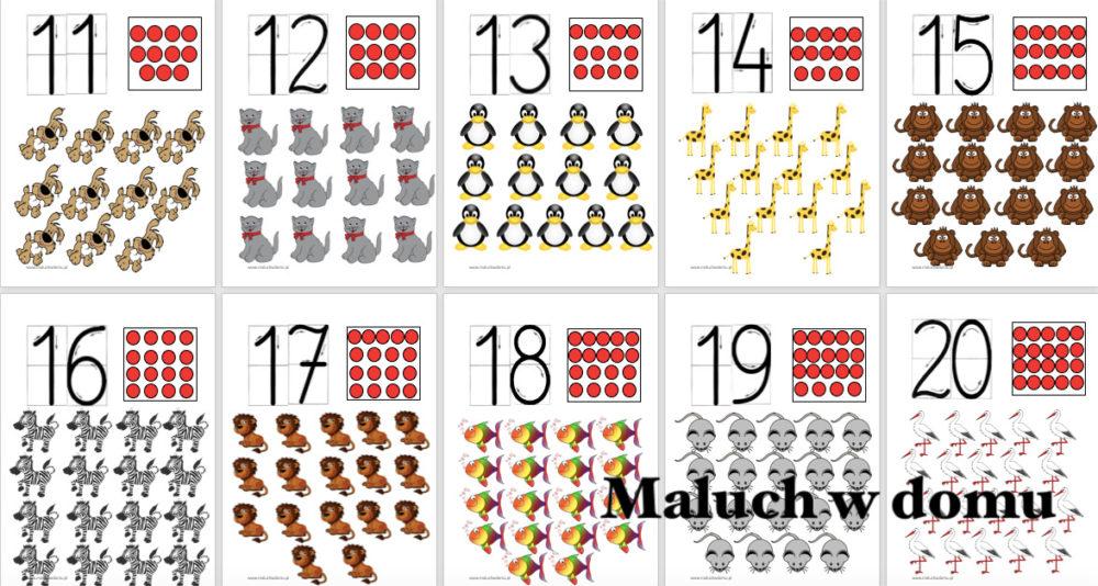 Tablice z liczbami 11-20 zwierzęta