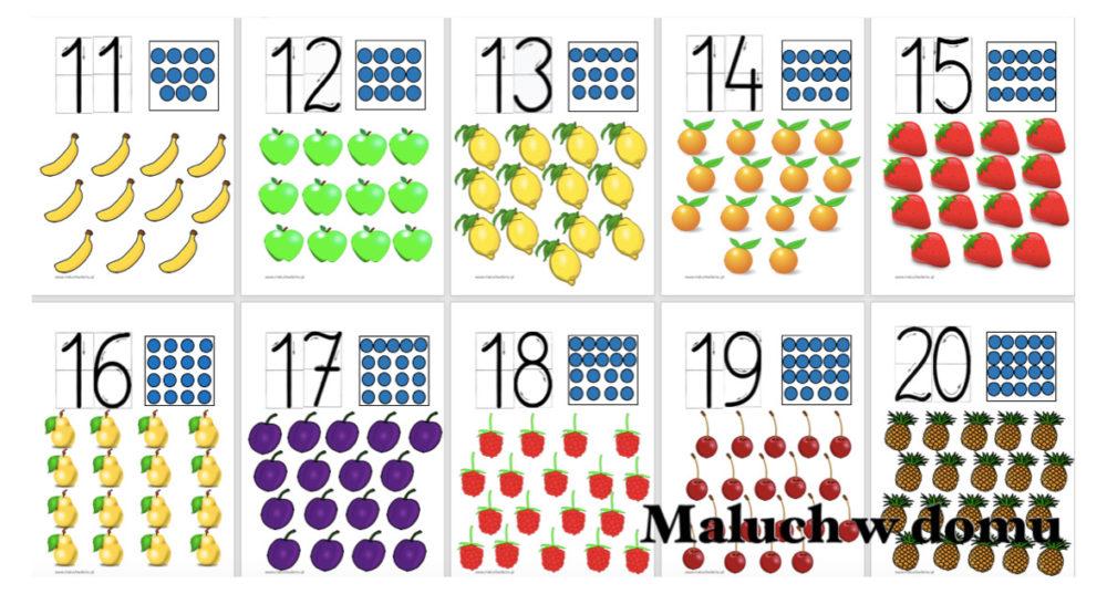 Tablice z liczbami 11-20 owoce