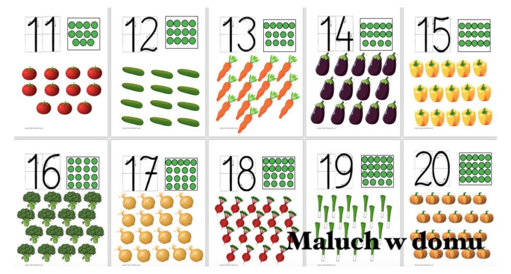 Tablice z liczbami 11-20 warzywa