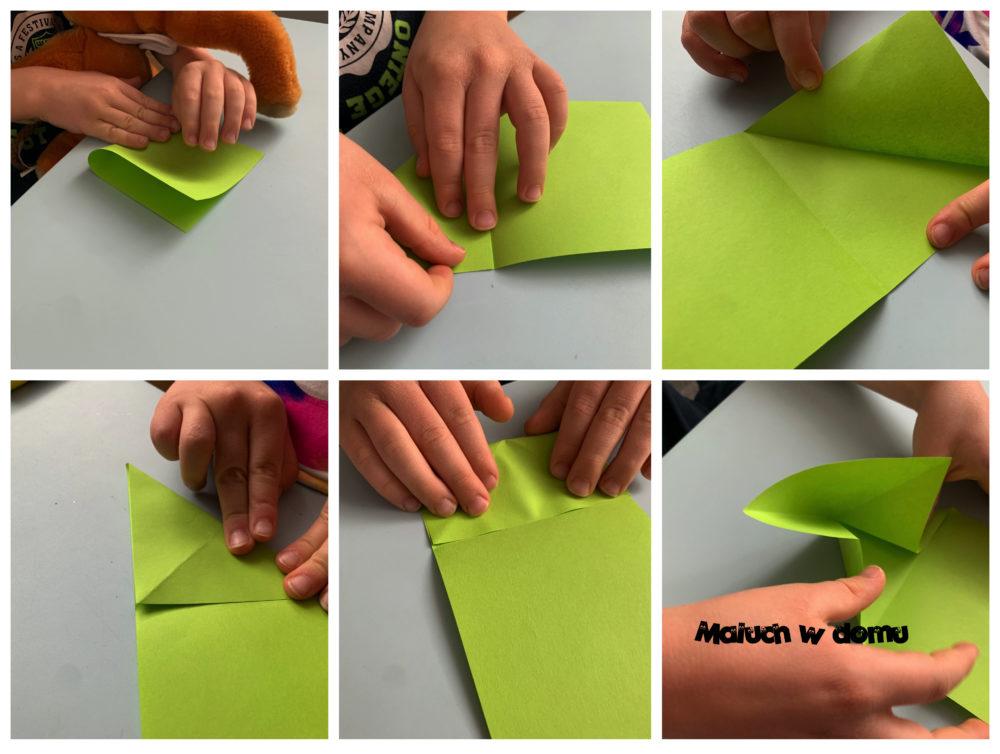 Origami na wiosennej łące - skacząca żabka