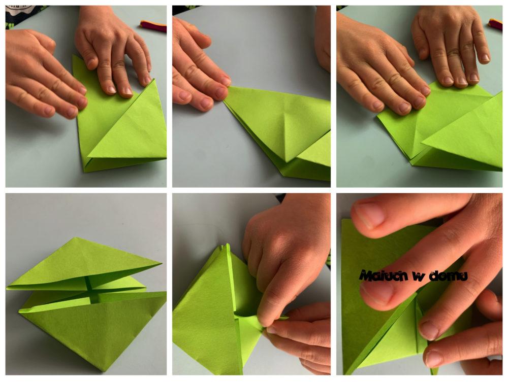 Skacząca żabka z papieru