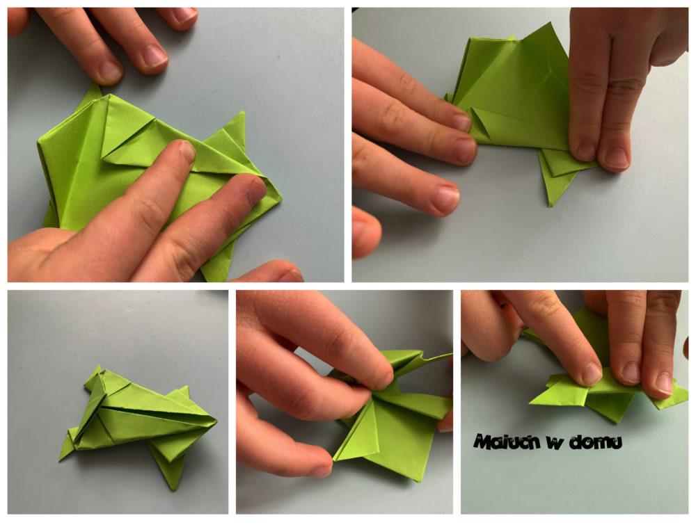 Żabka origami na wiosennej łące