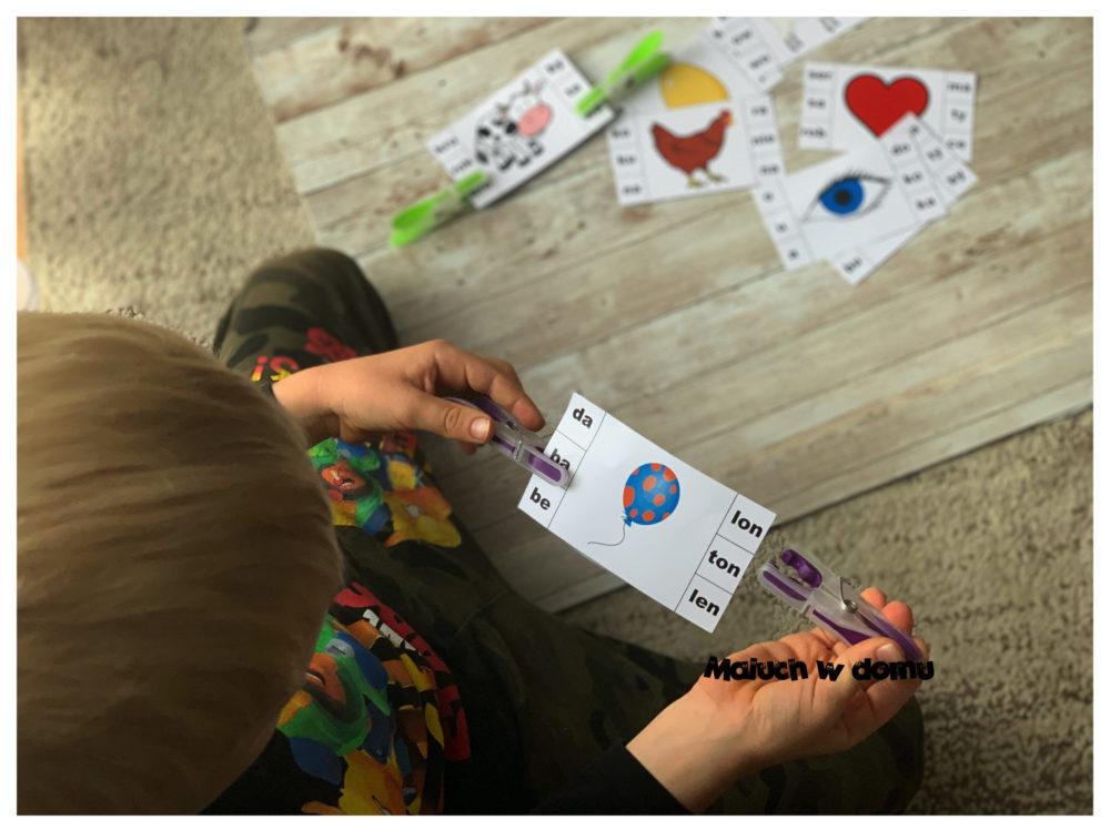 Zabawy klamerkowe: karty sylabowe